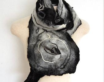 Women's Nuno Felted Scarf Silk Shawl Merino Wool Wrap Unique Handmade Clothing Black and White Felted Shawl Wearable Art Collar Felt Jewelry