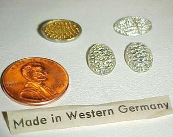 24 Vintage West German Glass Crystal Oval 12x8mm. Deco Dot Cabochons L321