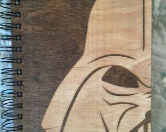 Darth Vader Etched Wooden Notebook
