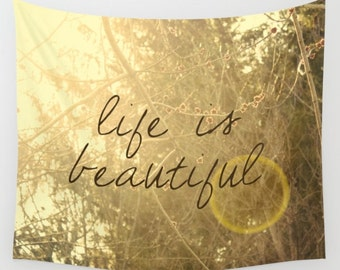 wall tapestry- wall decor- nature photography- sunshine- inspiring quote-typography- wall hanging-yellow and brown