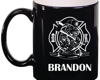 Firehouse Dalmation Personalized Engraved 11 ounce Coffee Mug