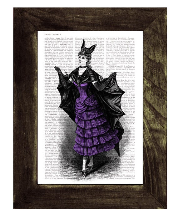 Victorian Violet Bat costume, Vampire girl, Print on Vintage Book Upcycled Dictionary Page, Upcycled Book Art, Wall art, Wall decor,  TVH124