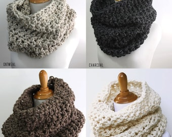 Chunky Cowl Scarf, Snood, Oversized Knit Scarf, Hood Scarf, Pullover Scarf, Custom Color