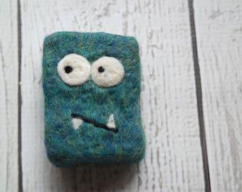 Felted soap Mini Monster teal blue