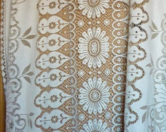 Vintage Large Lace Tablecloth, Lace Table Overlay, Curtain, Lace Drape. Cotton Lace Bedcover Overlay. Vintage Lace Tablecloth, Lace Curtain
