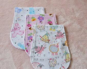 Baby Girl Burp Cloths, Contoured Burp Cloths, Set of 3 Girl Burp Cloths, Burp Cloths