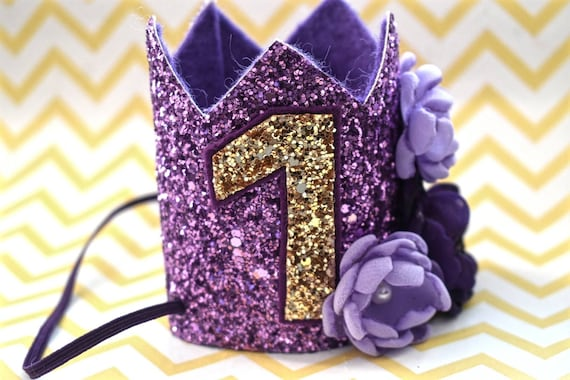 1st birthday purple crown, custom birthday hat, birthday photo prop, baby birthday outfit,purple and gold crown, Princess crown