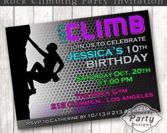 Girls Rock Climbing Birthday Invitation Climb Birthday Party Invite Printable Personalized 4 x 6 or 5 x 7