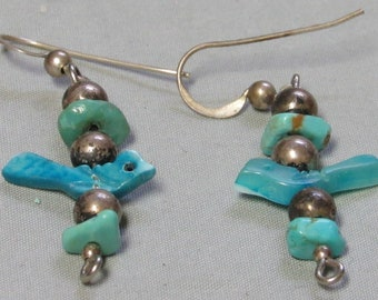 Zuni Indian Sterling Silver and Turquoise heishi Bird Fetish earrings Vintage
