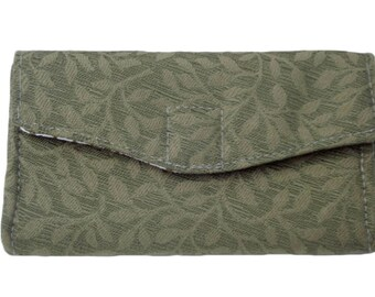 Green Wallet, Ladies Wallet, Vegan Wallet, Womens Wallet, Card Wallet, Fabric Wallet, Phone Wallet, Phone Case, Slim Wallet, Gift for her