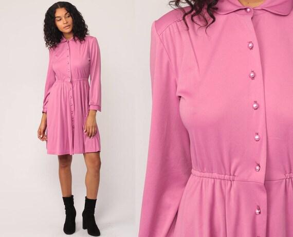 High Waisted Dress Mini 70s Button Up Pink Purple 80s Secretary Plain Long Sleeve Vintage Minidress Small