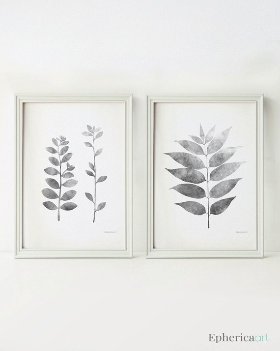 Grey leaves prints black and white botanical prints grey
