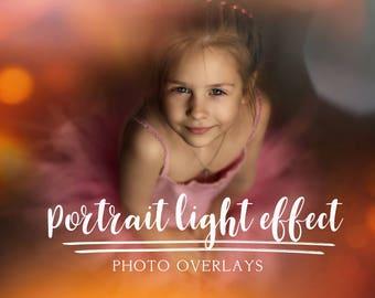20 Portrait light effect photo overlays, photoshop overlays, portrait overlays, bokeh overlay