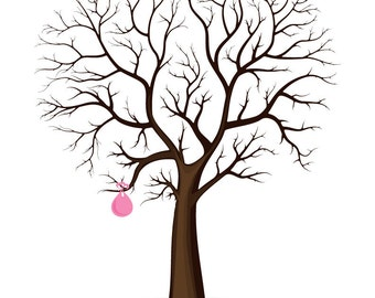 Sale! Now 8 dollars! for Instant download-  Baby Birth Tree Guest Book - Fingerprint - Baby Shower - 11x14 inches