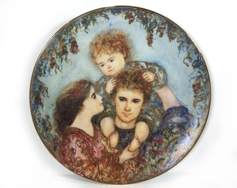 "Edna Hibel Plate, ""The Wonder of Family"", Fine Art Porcelain, Collector Plate Series"