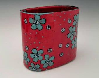 Square Ceramic Vase, Porcelain Container Vase, Modern Pottery, Red Vase