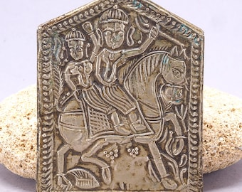 Antique metal Shiva and Parvati altar plaque. 71 x 55 mm. India. Tribal, ethnic jewelry