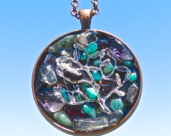8 Gemstone Vortex Tree of Life. NEW Tactile Collection. Touch the Tourmaline, Topaz. Aventurine, Rutile and more. Copper Mandala. Orgone.