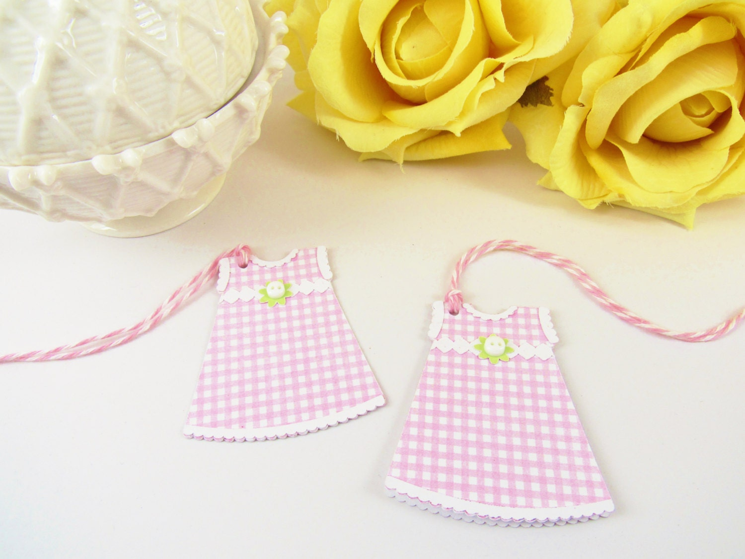 10 Baby Girl Thank You Tags Dress Gift Tags Pink Baby