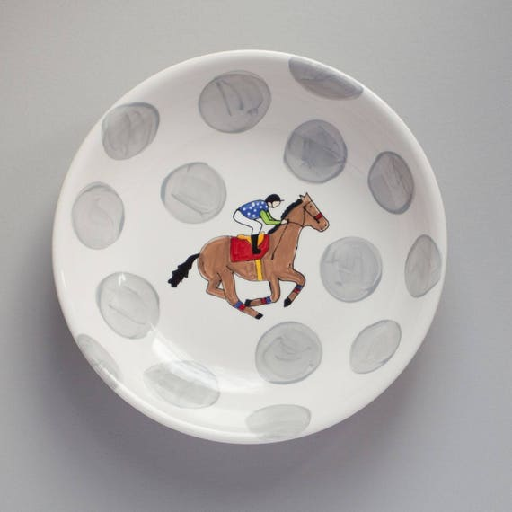 Derby Party Bowl, Derby pottery, KY derby dish, jockey silk bowl, derby party bowl