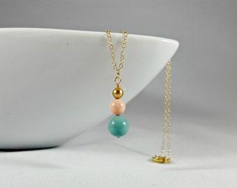 Jade and Coral Swarovski Pearl Simple Drop Pendant