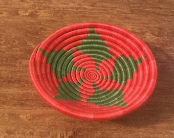Vibrant Orange and green handmade basket