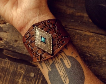 Western Leather Cuff, Leather Cuff, Native American Leather Bracelet, Southwest Jewelry, Tribal Leather Cuff, Turquoise Jewelry