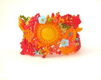 Colorful bracelet Beaded bracelet cuff Art beadwork Seed bead jewelry  Freeform peyote  bracelet, red and yellow, freeform beading