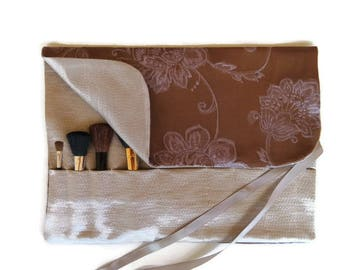 Makeup Brush Roll Purple Bronze and Silver Floral Roll up Beauty Gift