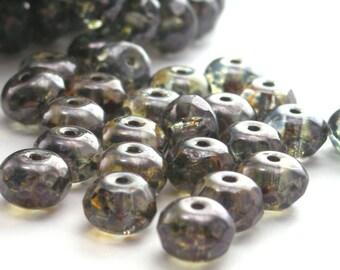 Czech Glass Beads Gemstone Donut 7x5mm Luster Transparent Green (25) CZF038