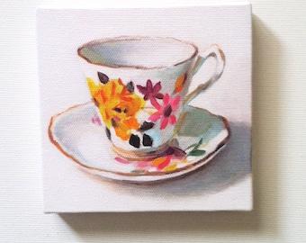 Vintage tea cup- Tiny canvas print -FOLK ART PRINT -blue red yellow green pink orange Colors -canvas art print -Kitchen decor- wall hanging