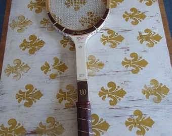 Vintage Butch Buchholtz Wilson Tennis Racquet Signature 4 5/8 Fairway Leather Grip Gut