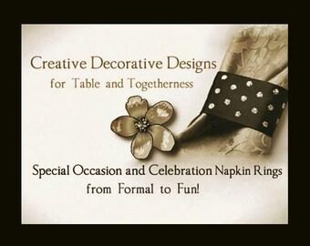 Napkin Rings Custom Party Decor, Custom Wedding Decor, Custom Table Decorations, Formal Event & Special Occasion Decorative Napkin Rings