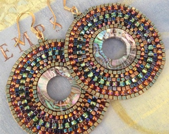 Beaded Abalone Earrings Large Seed Bead Earrings Beadwork Sea Shell Jewelry