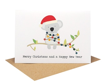 Christmas Card Australia | Koala with Christmas Lights | Koala Card | Australian Card | Australian Christmas | XMS036 | Merry Christmas Card