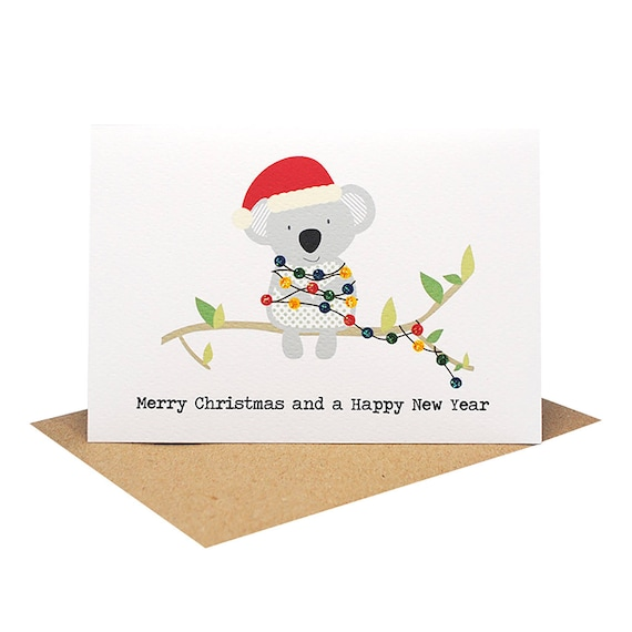 Christmas card australia koala with christmas lights koala like this item m4hsunfo Choice Image