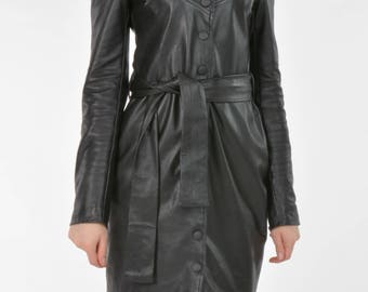 Leather black women dress