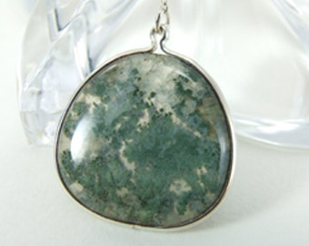 Green Moss Agate Stone in Sterling Silver Necklace or Pendant 6