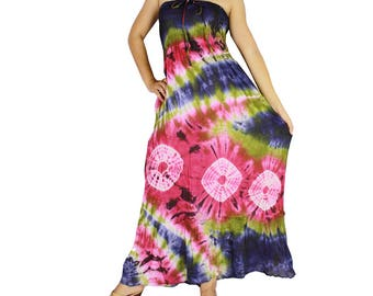 Smocked tie dye off shoulder dress tie dye cotton 2 in 1 boho  tube dress maxi summer sundress comfy beach casual dress long skirt (402)