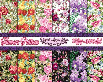 Flowers Digital Paper, Seamless pattern - 12pcs 300dpi, paper crafts, card making, scrapbooking, Commercial use