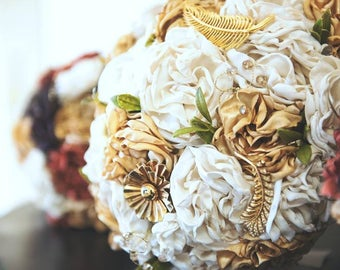 Gold and Ivory Fabric Flower Bouquet