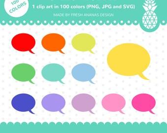 100 Colors Clip Art: Speech Bubble #1, Speech Bubble, Thought Bubble, Comic Bubble, Clip Art, Clipart, Planner Clipart, 100 colors, SVG