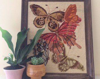 Large Framed Vintage Butterfly Crewel Embroidery, boho nursery decor, kids room decor, hanging wall art, handmade art, colorful nature art