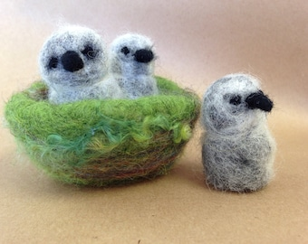 Eagle babies, three bird nest, american eagle, Waldorf toy, nature table, made to order