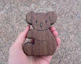 Wood Toy Koala Baby - Walnut -  wooden animal teether toy for baby, or toddler toy