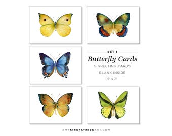 Greeting Card Pack of 5, Set 1, Five Different Butterflies, Watercolor Butterfly Cards, 5x7, blank inside, Gift for butterfly lover