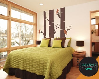 Birch Tree Vinyl Wall Decal with set of 3 Birds - TRE003