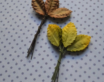 Green Leaves Handmade Mulberry Paper With Stems Crafts Supply Embossed Paper Leaf Decorations