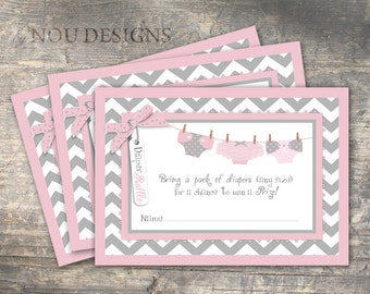 Pink/Grey Sweet Diapers on Clothesline Diaper Raffle Ticket- Printable File