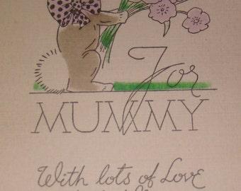 SALE Vintage Easter Postcard (Rabbit With Flowers)
